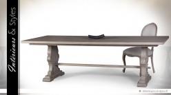 Table salle à manger bois massif de mindi finition chêne vieilli