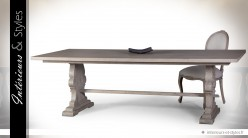 Grande table de salle à manger en bois massif finition chêne vieilli 240 cm