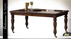 Table ractangulaire sur roulettes de style Victorien en acajou massif