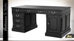 Grand bureau noir et argent 6 tiroirs et 1 porte