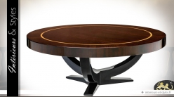 Table basse ronde design en acajou massif et eucalyptus