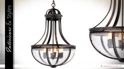 Grande suspension façon lanterne ancienne laiton cuivré 84 cm