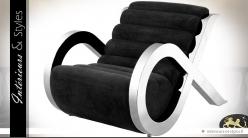 Fauteuil design velours noir et inox argenté poli Alpha