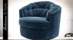 Fauteuil circulaire design en tissu bleu nuit