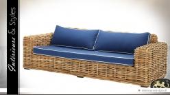 Canapé 3 places en rotin naturel avec coussins bleus