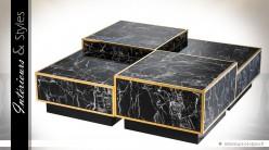 Ensemble de 4 tables basses finition marbre noir et métal doré