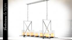 Grande suspension LED en inox poli argent avec 7 supports bougies
