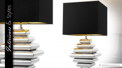 Lampe design en laiton finition argent avec abat-jour noir intense