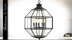Suspension lanterne polyèdre à vitres biseautées Ø 80 cm