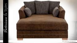 Fauteuil chaise longue similicuir et tissu coloris marron