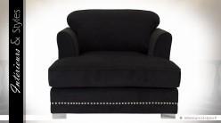 Fauteuil chaise longue habillage tissu noir intense