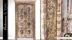 Armoire à 2 portes de style indien en manguier massif sculpté 180 cm