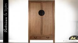 Armoire à 2 portes en orme massif et métal style oriental