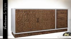 Buffet blanc et bois naturel 2 portes 3 tiroirs façades mindi sculpté