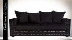 Canapé 3 places en tissu noir intense et argent