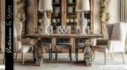 Table Monastère en pin recyclé à pieds en balustres 200 cm