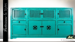 Grand buffet oriental en pin massif recyclé coloris turquoise