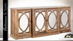 Buffet enfilade à 4 portes style Art Déco finition rustique