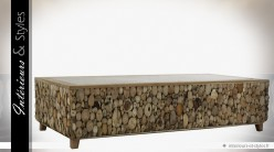 Table basse exotique composition de troncs et branches d'arbres