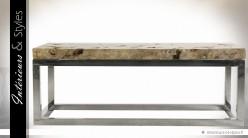 Table basse en pierre naturelle et acier inoxydable argenté
