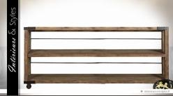 Grande console étagère de style industriel en bois et métal