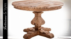 Table rustique ronde en pin massif recyclé Ø 120 cm