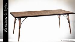 Table industrielle vintage en bois et métal (2 mètres)