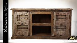 Buffet en bois recyclé ancien à deux portes