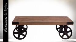 Table basse rectangulaire bois massif recyclé métal forme draisine