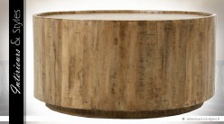 Table basse cylindrique en manguier finition natuelle Ø 92 cm