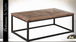 Table basse rectangulaire style indus en bois et métal