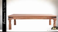 Table basse rustique en acacia massif 180 x 90 cm