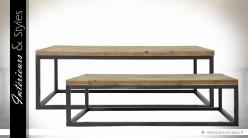 Série de 2 tables basses rectangulaires en bois et métal