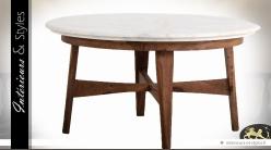 Table basse ronde vintage en sésame et marbre Ø 88 cm