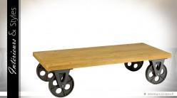 Table basse industrielle bois et métal à roulettes 150 x 70