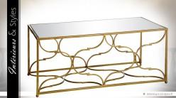 table basse style oriental chic en m tal dor plateau verre int rieurs styles. Black Bedroom Furniture Sets. Home Design Ideas