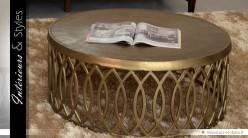 table basse orientale ronde en m tal dor et vieilli 90 cm int rieurs styles. Black Bedroom Furniture Sets. Home Design Ideas
