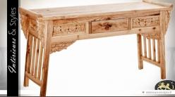 Console orientale sculptée en mindi finition bois naturel