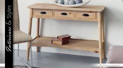 Console de style rustique et rétro à 2 plateaux et 3 tiroirs
