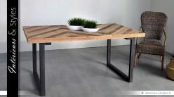 Table de salle à manger en bois de sapin et métal noir antique