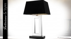 Lampe Boston noir et argent design finition nickel argenté 71 cm