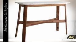 Console rétro scandinave en bois de sésame et marbre blanc