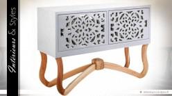 Console design blanche 2 portes bois naturel et miroir
