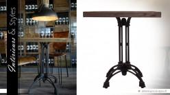 Table de bistrot carrée style indus bois massif recyclé et métal