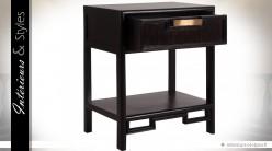Table de chevet noire et marron en manguier à 1 tiroir