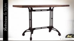 Table de bistrot rectangulaire style indus bois massif recyclé et métal