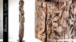 Grande sculpture primitive tribale en bois recyclé 200 cm