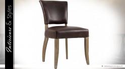 Chaise similicuir marron vieilli et chêne