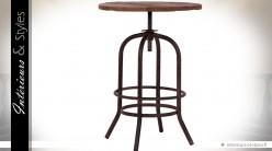 Table ronde réglable en bois et métal style industriel