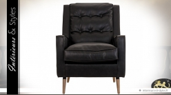 Fauteuil relax noir en similicuir structure en pin